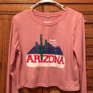 Pink Arizona crop long sleeved tee